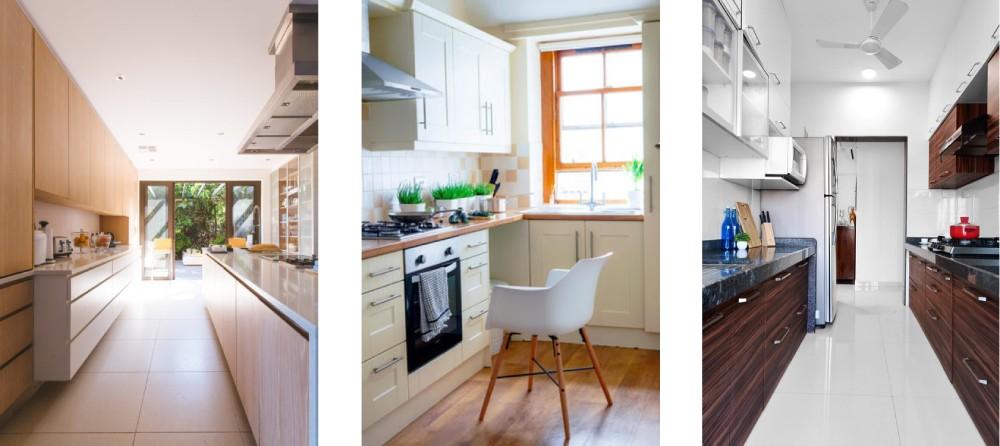 Интерьер кухни в узком помещении